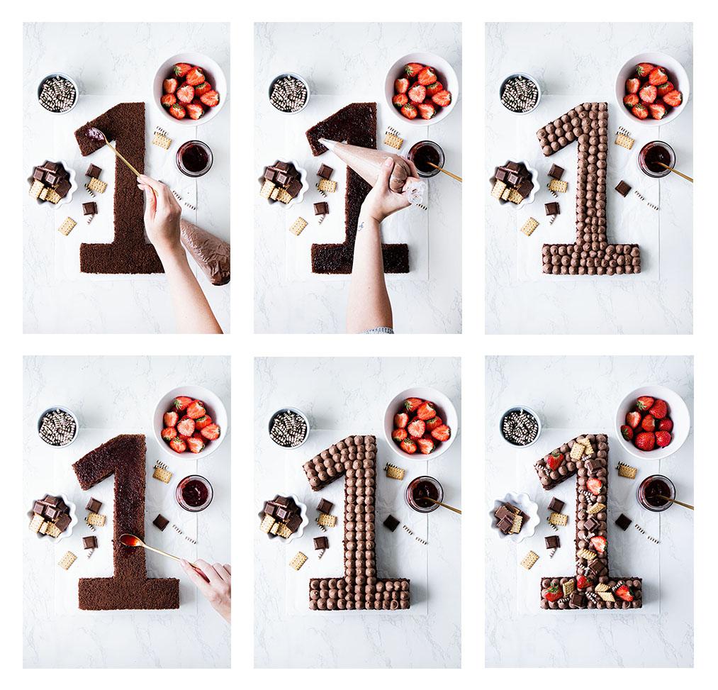 Schokoladen Number Cake mit Erdbeeren