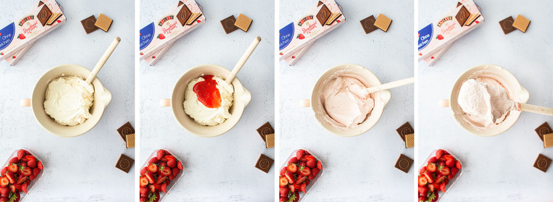 Erdbeer Cupcakes mit Knusperwaffeln, Creme