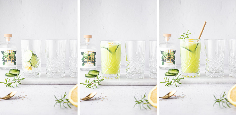 Gin Fizz Cocktail mit Gurke und Zitrone
