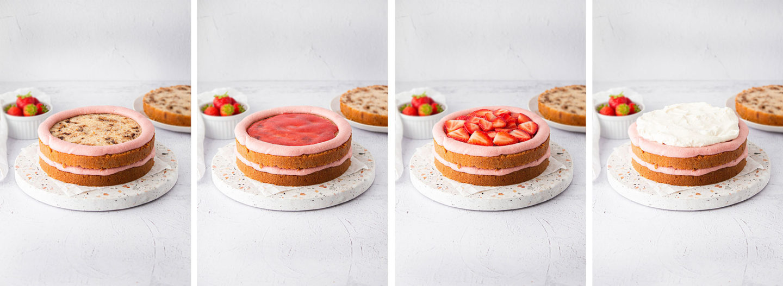 Erdbeer-Drip-Törtchen, Schichten