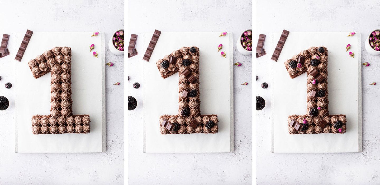 Number Cake Schokolade Aufbau